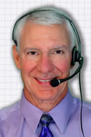 Charlie Greer wearing telephone headset